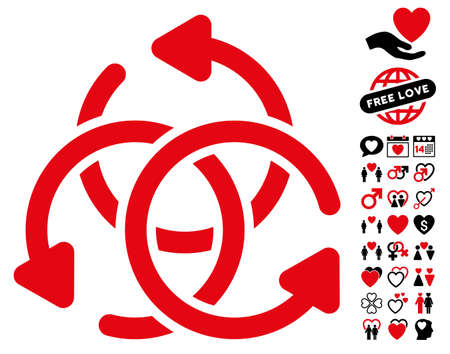 complex navigation: Knot Rotation pictograph with bonus passion clip art. Vector illustration style is flat rounded iconic intensive red and black symbols on white background.