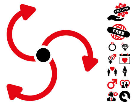 Fan Rotation pictograph with bonus dating pictograms. Vector illustration style is flat rounded iconic intensive red and black symbols on white background.