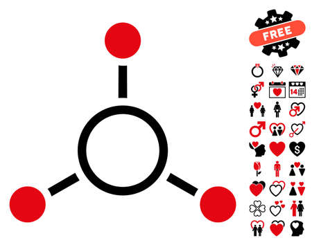 Radial Structure icon with bonus marriage icon set. Vector illustration style is flat rounded iconic intensive red and black symbols on white background. Illustration