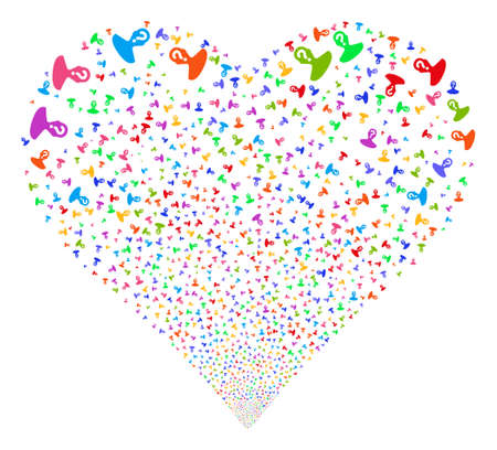 Unknown Person fireworks with heart shape. Glyph illustration style is flat bright multicolored iconic symbols on a white background. Object salute done from confetti pictograms.