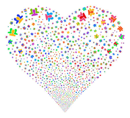 Users fireworks with heart shape. Glyph illustration style is flat bright multicolored iconic symbols on a white background. Object valentine heart constructed from scattered icons.