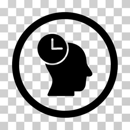 time account: Time Thinking rounded icon. Vector illustration style is a flat iconic symbol inside a circle, black color, transparent background. Designed for web and software interfaces. Illustration