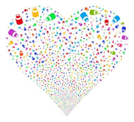 Vial fireworks with heart shape. Glyph illustration style is flat bright multicolored iconic symbols on a white background. Object heart made from scattered symbols. Stock Photo