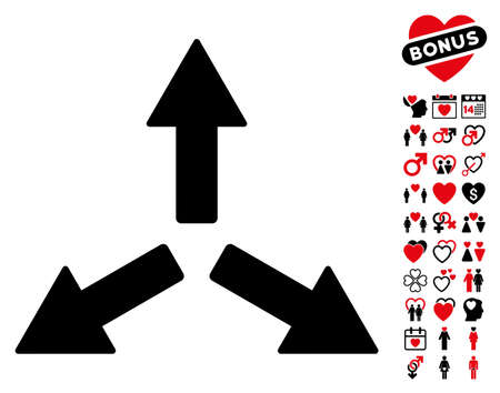expand: Expand Arrows icon with bonus dating pictures. Vector illustration style is flat rounded iconic intensive red and black symbols on white background.