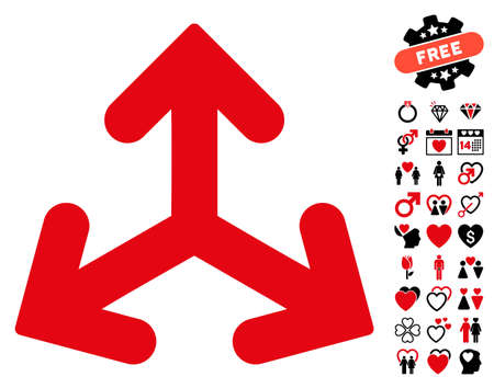 Direction Variants icon with bonus romantic pictures. Vector illustration style is flat rounded iconic intensive red and black symbols on white background.
