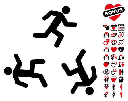 concurrent: Running Men pictograph with bonus decoration pictograph collection. Vector illustration style is flat rounded iconic intensive red and black symbols on white background.