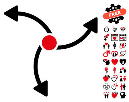 Swirl Direction pictograph with bonus valentine images. Vector illustration style is flat rounded iconic intensive red and black symbols on white background. Illustration