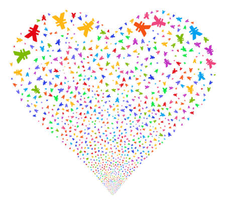 Yen fireworks with heart shape. Glyph illustration style is flat bright multicolored iconic symbols on a white background. Object valentine heart constructed from random pictograms.