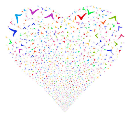 Yes fireworks with heart shape. Glyph illustration style is flat bright multicolored iconic symbols on a white background. Object heart combined from confetti icons.