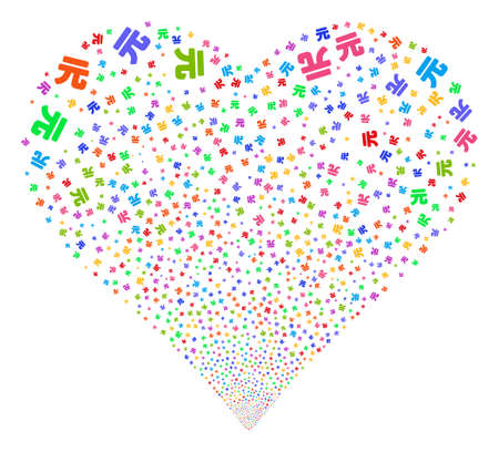 Yuan Renminbi fireworks with heart shape. Glyph illustration style is flat bright multicolored iconic symbols on a white background. Object valentine heart constructed from random pictograms.