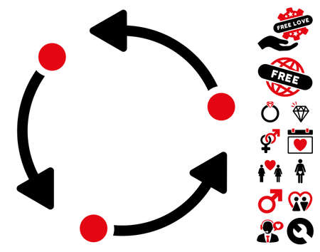 Rotate icon with bonus decorative clip art. Vector illustration style is flat rounded iconic intensive red and black symbols on white background.