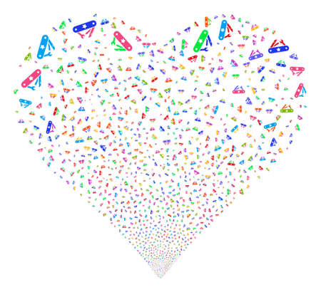 Universal Army Knife fireworks with heart shape. Glyph illustration style is flat bright multicolored iconic symbols on a white background. Object heart created from confetti symbols.