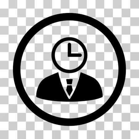 Time Manager rounded icon. Vector illustration style is a flat iconic symbol inside a circle, black color, transparent background. Designed for web and software interfaces. Illustration