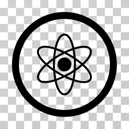 fission: Atom vector icon. Illustration style is a flat iconic black symbol on a transparent background. Illustration
