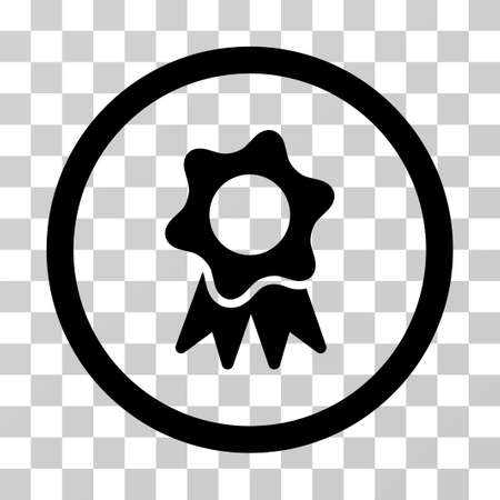 Award Seal vector icon. Illustration style is a flat iconic black symbol on a transparent background. Illustration