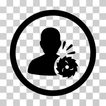 violate: Body Execution vector icon. Illustration style is a flat iconic black symbol on a transparent background. Illustration