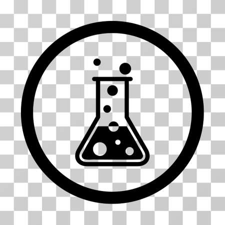 Boiling Liquid Flask vector icon. Illustration style is a flat iconic black symbol on a transparent background. Illustration