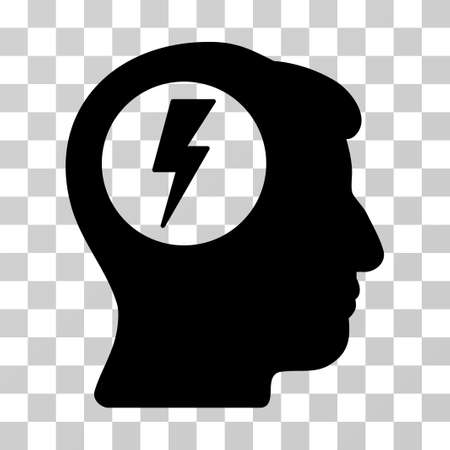 ruch: Brain Electric Shock vector pictograph. Illustration style is a flat iconic black symbol on a transparent background. Illustration