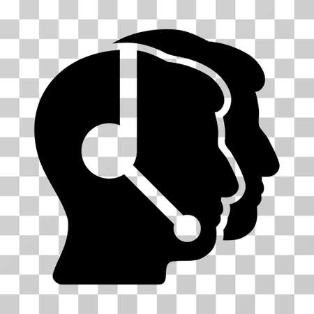 operators: Call Center Operators vector pictogram. Illustration style is a flat iconic black symbol on a transparent background.