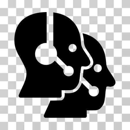 Icono de vector de los operadores de Call Center. El estilo de ilustración es un símbolo negro plano icónico sobre un fondo transparente.