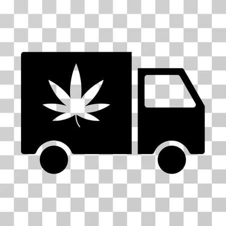 Icono de vector de Van de entrega de cannabis. El estilo de ilustración es un símbolo negro plano icónico sobre un fondo transparente. Ilustración de vector