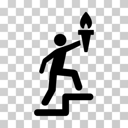 smart goals: Climbing Leader With Torch vector pictogram. Illustration style is a flat iconic black symbol on a transparent background.