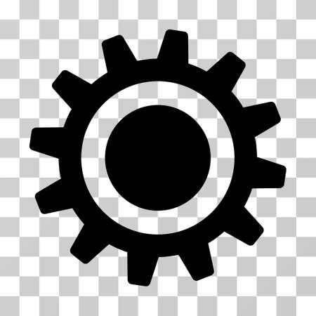 Cog vector pictograph. Illustration style is a flat iconic black symbol on a transparent background.