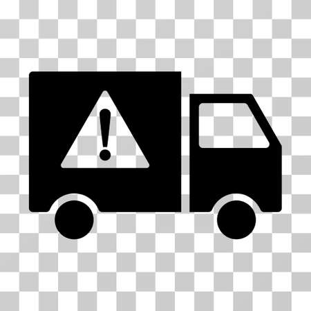 Danger Transport Truck vector icon. Illustration style is a flat iconic black symbol on a transparent background.