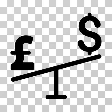 equilibrium: Dollar Pound Swing vector pictograph. Illustration style is a flat iconic black symbol on a transparent background.