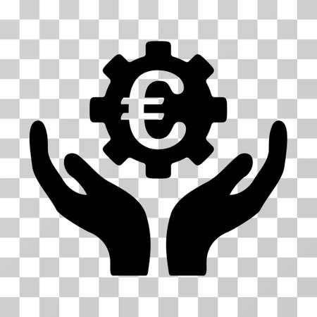 Euro Maintenance Hands vector icon. Illustration style is a flat iconic black symbol on a transparent background.