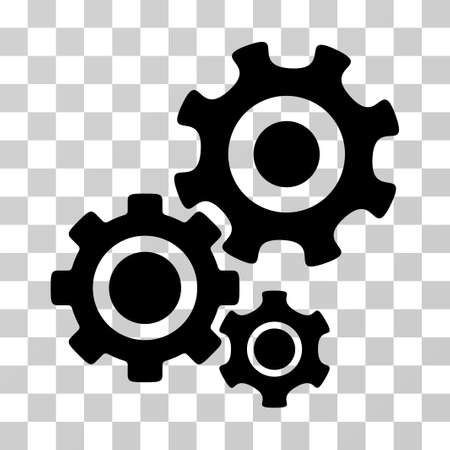Gear Mechanism vector icon. Illustration style is a flat iconic black symbol on a transparent background.