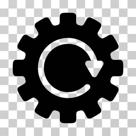 Pictogramme vectoriel de rotation de roue dentée. Le style d'illustration est un symbole noir plat iconique sur un fond transparent. Vecteurs