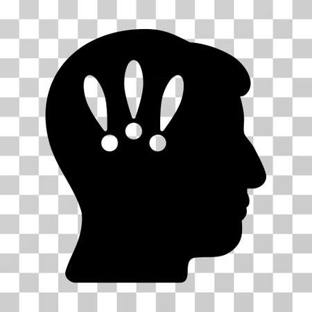 concussion: Head Problems vector icon. Illustration style is a flat iconic black symbol on a transparent background.
