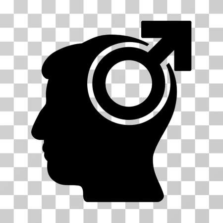 potency: Intellect Potency vector pictograph. Illustration style is a flat iconic black symbol on a transparent background. Illustration