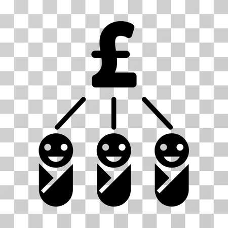 Kid Pound Expenses vector pictograph. Illustration style is a flat iconic black symbol on a transparent background.