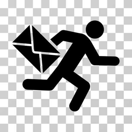 Mail Courier vector pictograph. Illustration style is a flat iconic black symbol on a transparent background.