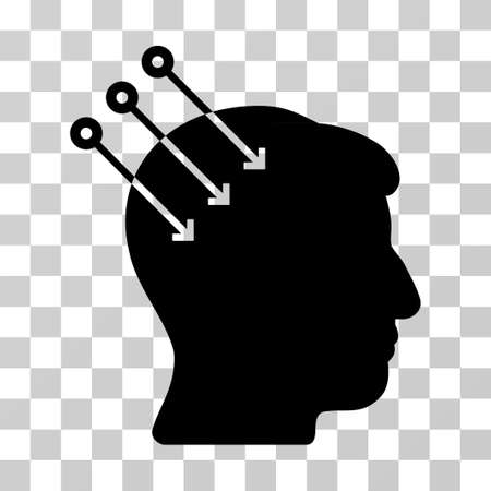 Neural Interface Connectors vector icon. Illustration style is a flat iconic black symbol on a transparent background.