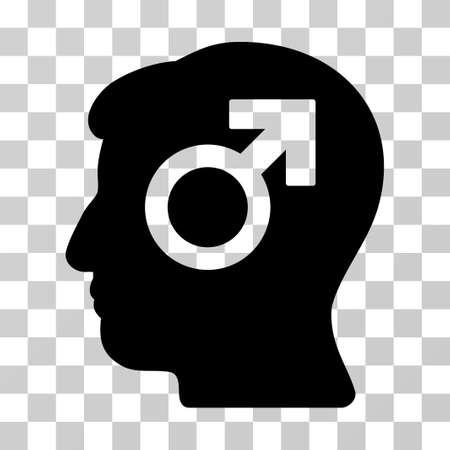 potency: Mind Potency vector pictograph. Illustration style is a flat iconic black symbol on a transparent background. Illustration