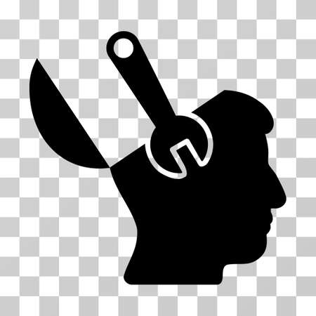 Mind Wrench Surgery vector pictograph. Illustration style is a flat iconic black symbol on a transparent background.