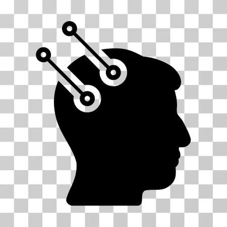 Neural Interface Connectors vector pictogram. Illustration style is a flat iconic black symbol on a transparent background.