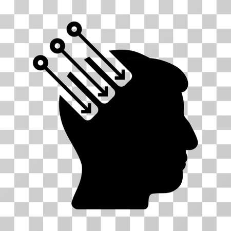 Neuro Interface vector pictograph. Illustration style is a flat iconic black symbol on a transparent background. Illustration