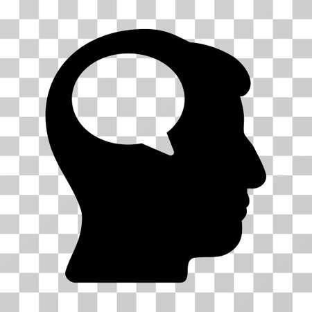 Icona di vettore di pensiero della persona. Lo stile di illustrazione è un simbolo nero iconico piatto su uno sfondo trasparente.