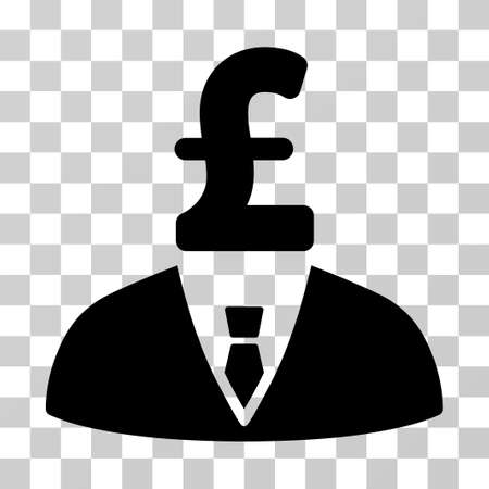 Pound Businessman vector icon. Illustration style is a flat iconic black symbol on a transparent background.