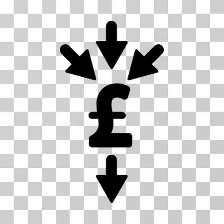 Pound Combine Payments vector icon. Illustration style is a flat iconic black symbol on a transparent background.