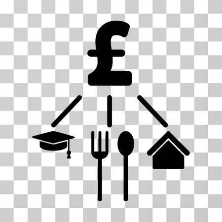 consumption: Pound Consumption Pattern vector icon. Illustration style is a flat iconic black symbol on a transparent background.
