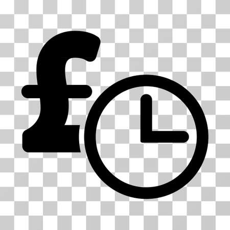 timed: Pound Credit vector pictograph. Illustration style is a flat iconic black symbol on a transparent background.