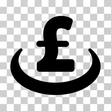 Pound Deposit Placement vector pictogram. Illustration style is a flat iconic black symbol on a transparent background.