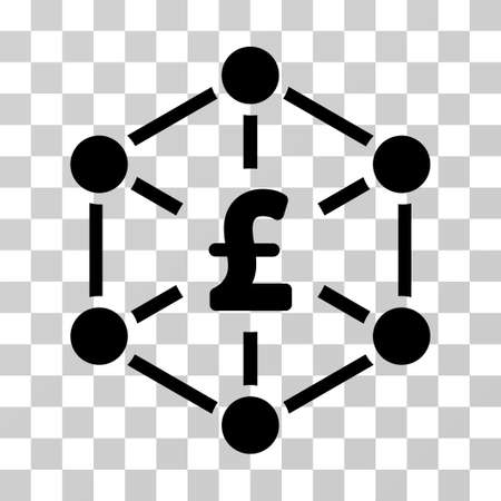 Pound Finance Network vector icon. Illustration style is a flat iconic black symbol on a transparent background. Illustration