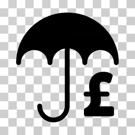 Pound Financial Umbrella vector pictograph. Illustration style is a flat iconic black symbol on a transparent background.