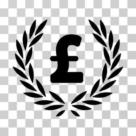 Pound Laurel Wreath vector pictogram. Illustration style is a flat iconic black symbol on a transparent background.